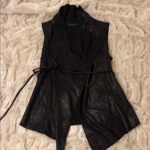 Zara suede vest with tie belt